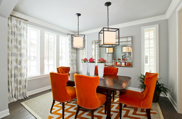 Catchy Orange Dining Room Designs Home Design Lover - Orange dining room chairs