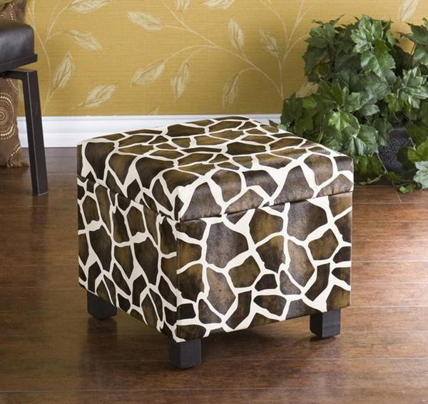 Giraffe Faux Leather Storage Ottoman