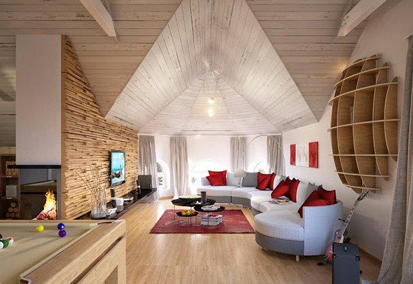 Wooden panel walls in 15 living room designs home design for Mansard room