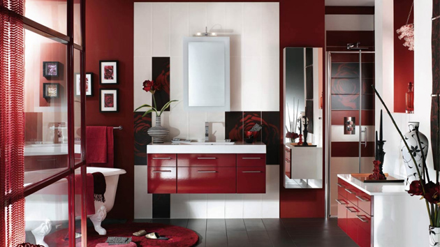 15 great bathroom painting ideas for your home home - Salle de bain rouge et noir ...