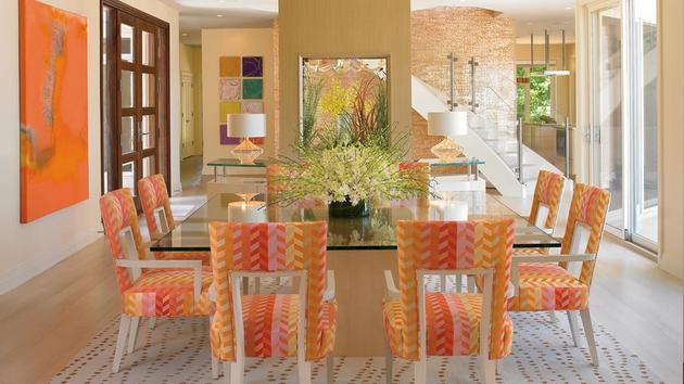 Orange Dining Room Simple With Orange Dining Room Idea Photo