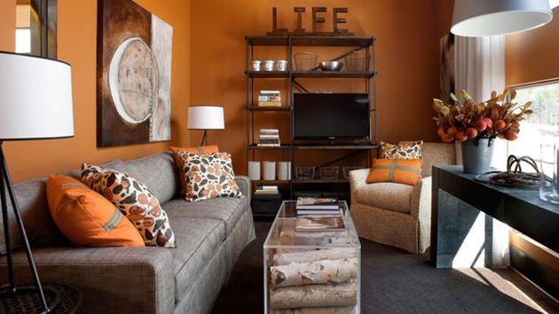 15 close to fruity orange living room designs home for Grey and orange living room ideas