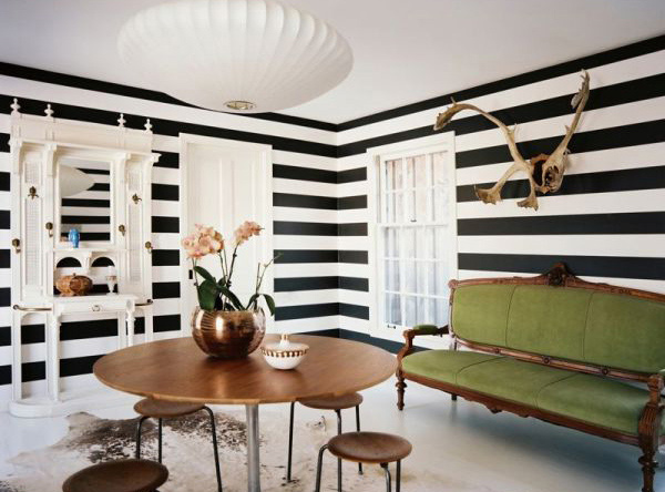Striped wall accents in 15 dining room designs home - Black and white striped wall ...