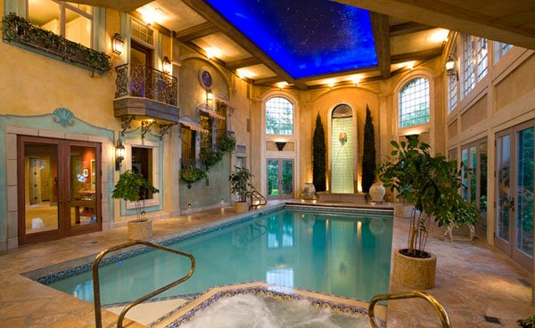 In The Walls And Ceilings Create A Romantic Mood In This Indoor Pool