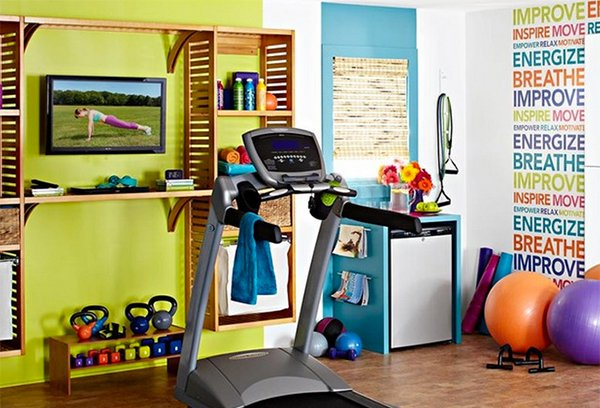 15 cool home gym ideas home design lover for Best wall color for home gym