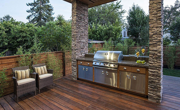 The rustic modern design of burlingame residence in for California outdoor kitchen designs