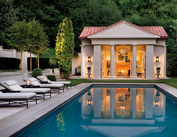 16 fascinating pool house ideas home design lover for Outdoor pool house designs