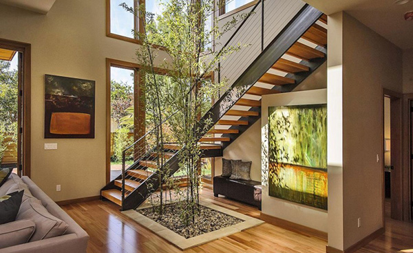 The rustic modern design of burlingame residence in for Garden design under the stairs