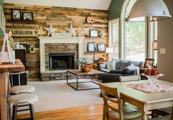 15 homey rustic living room designs home design lover for Rustic living room ideas