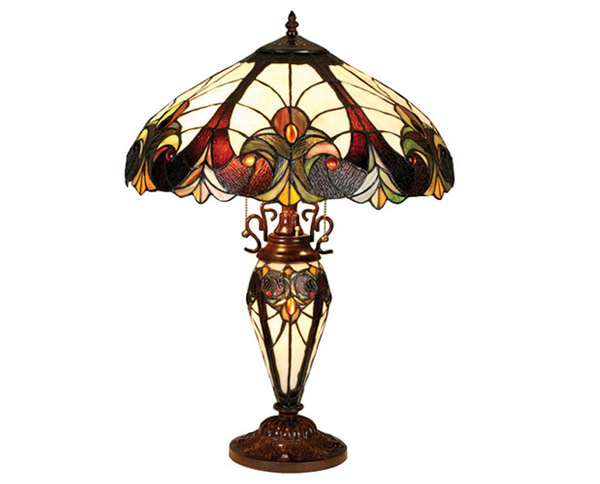 Tiffany Style Victorian Double Lit Table Lamp