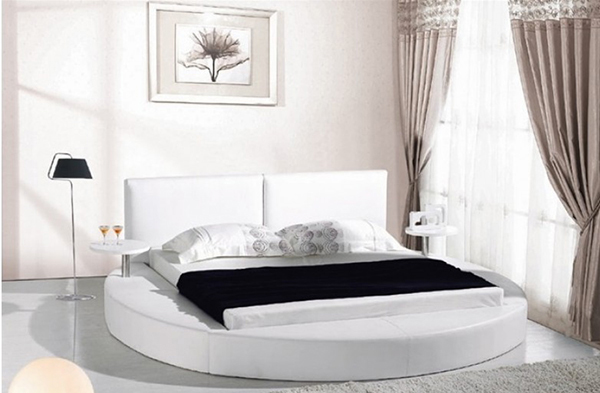 round bed with thick frame material and soft leather it also has