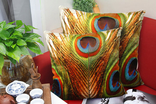 Peacock Feather Cover Pillow
