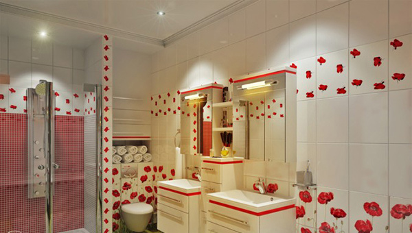 Bathroom Red Flowers