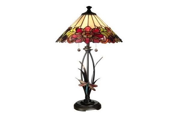 Dale Floral Dragonfly Tiffany Table Lamp