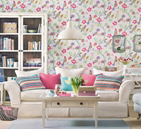 15 living room with floral wallpapers home design lover for Home wallpaper designs 2013