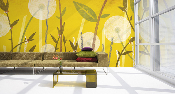 15 living room with floral wallpapers home design lover for Yellow living room wallpaper