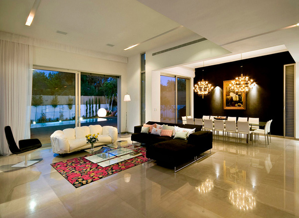 15 classy living room floor tiles home design lover Black tile flooring modern living room