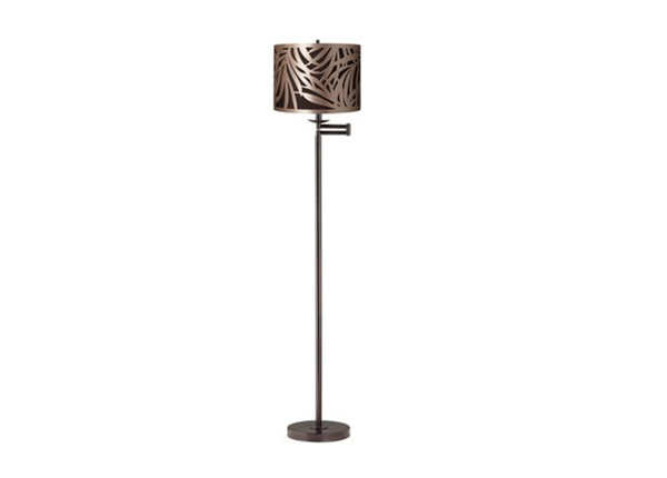 Laser-Cut Shade Bronze Swing Arm Floor Lamp