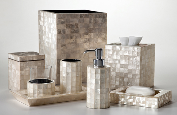 Capiz Modern Bath Accessories Ivory Set