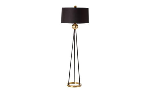 Hadley Antique Brass and Black Floor Lamp