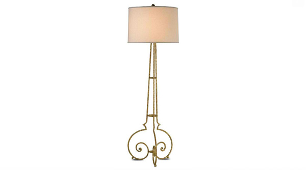 Currey and Company Taylor Floor Lamp in Gold Leaf