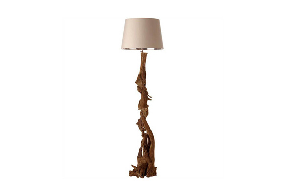 Natural Driftwood Art Deco Floor Lamp