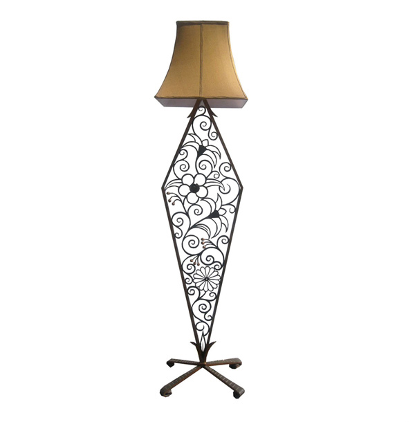 American Art Deco Wrought Iron Floor Lamp