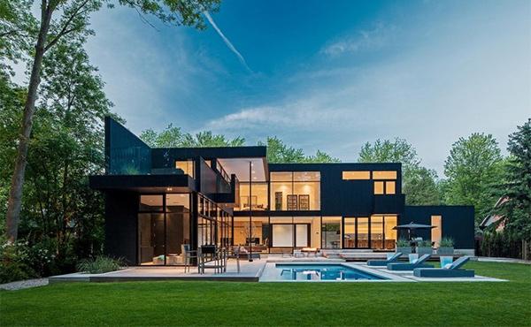 15 geometric modern home designs home design lover for Modern house plans ontario