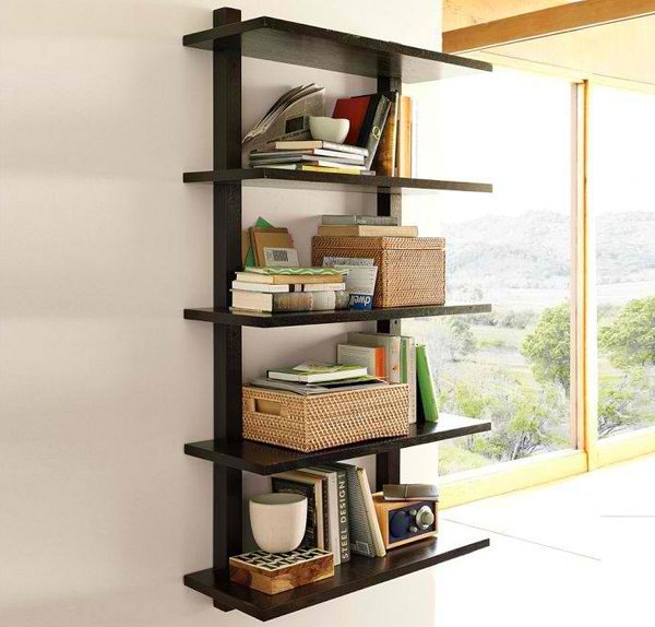 Wall- Mounted Bookcase, Tall