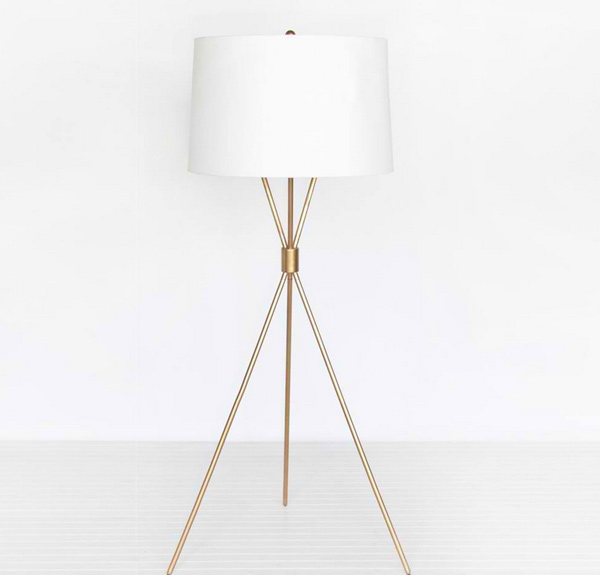 Worlds Away Mitchum Gold Leafed Floor Lamp