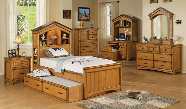 Twin Bedroom Set in Rustic Oak