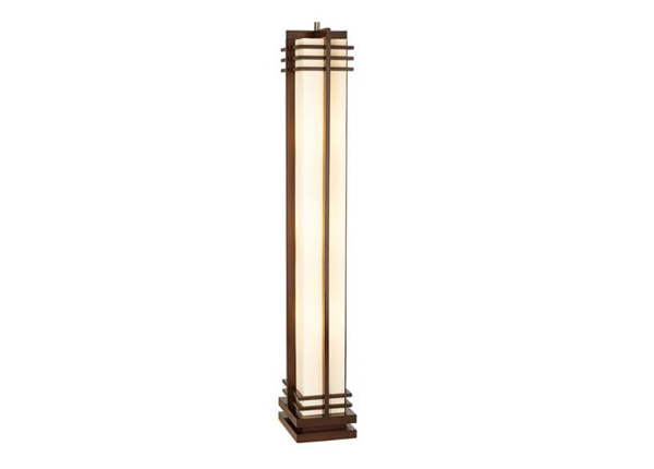 Deco Style Walnut Column Floor Lamp
