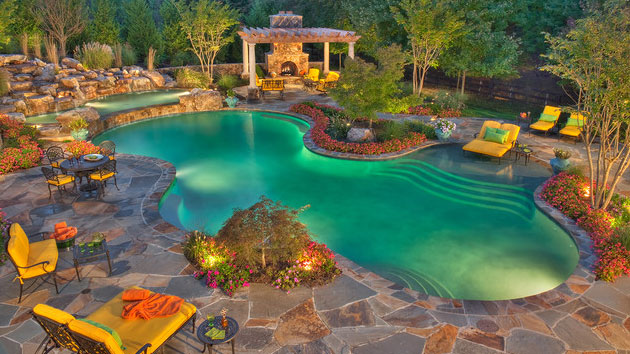 15 Swimming Pool Decks with Stone and Pavers | Home Design Lover