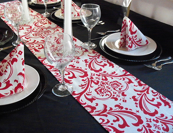 Red and White Lipstick Damask Table Runners