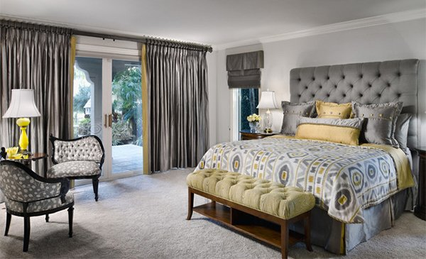 15 visually pleasant yellow and grey bedroom designs for Grey and yellow bedroom