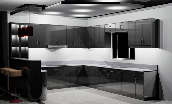 15 astonishing black kitchen cabinets home design lover for Shiny white kitchen cabinets