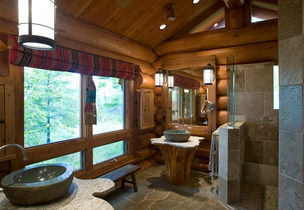 15 bathroom designs of rustic elegance home design lover for Log cabin bathroom design ideas