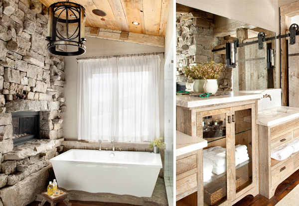 this is one gorgeous master bathroom with a rustic feel created