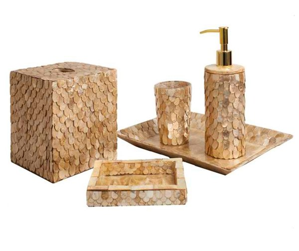 15 luxury bathroom accessories set home design lover for Gold mosaic bathroom accessories