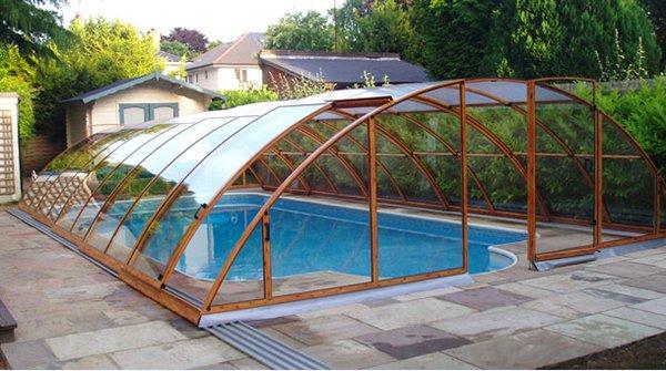 wooden pool enclosure