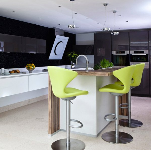 this modern kitchen Lime green furniture adds a contemporary touch