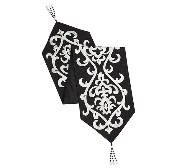 Embroidered Damask Table Runner
