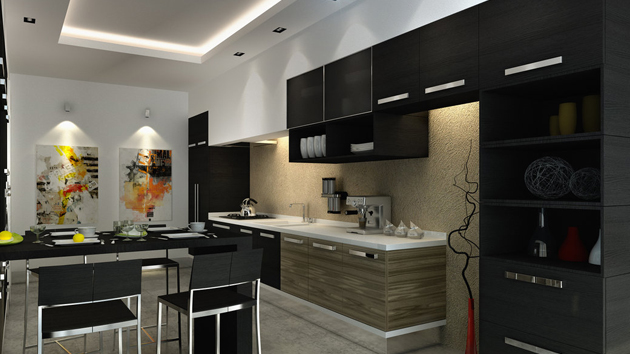 15 astonishing black kitchen cabinets home design lover for Black kitchen cabinets photos