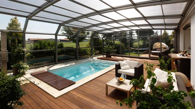 15 stylish pool enclosure for year round pool usage home for Construction pool house piscine