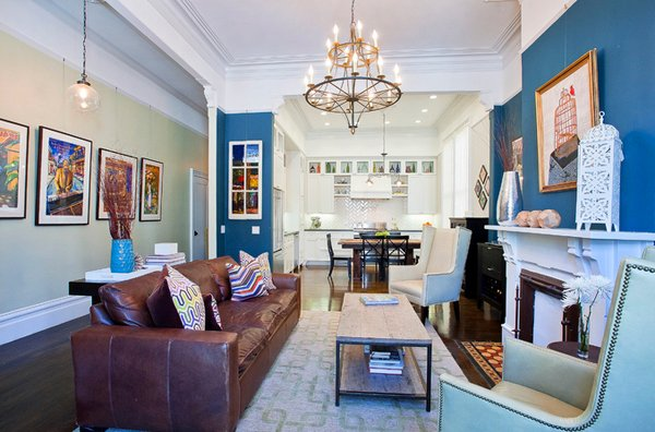 15 Interesting Combination of Brown and Blue Living Rooms ...