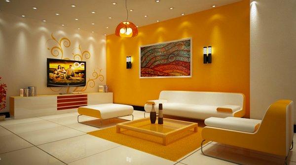 orange white living rooms