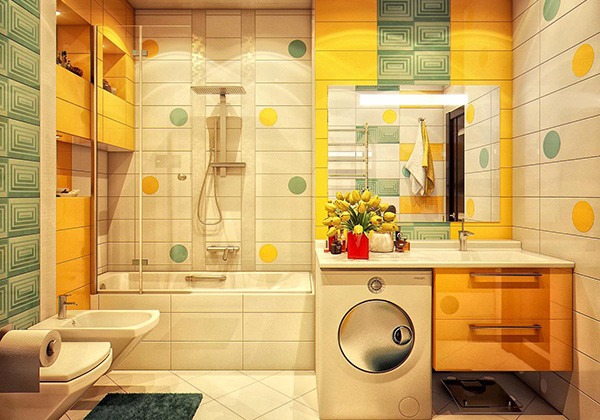 18 colorful and whimsical kid 39 s bathroom home design lover for Yellow and green bathroom ideas