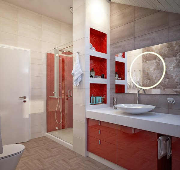 Bathroom Red Shelves