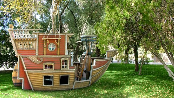 Outdoor Playhouse And Pirate Ship 48