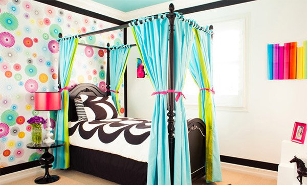 Blue, Green and Black Girl's Bedroom